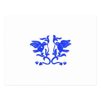 Pájaros azules y Flourishes Postal