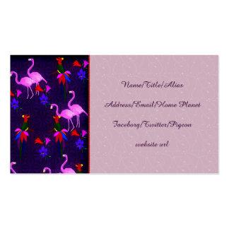Pájaros coloridos y flamencos rosados tarjetas de visita