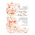 Pájaros coralinos anaranjados y remolinos que invitaciones personales