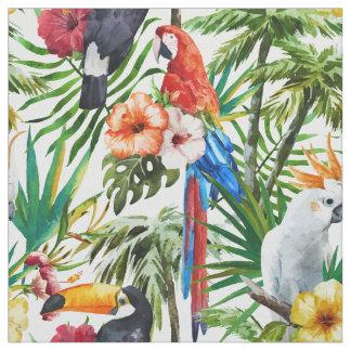 Pájaros de la acuarela y modelo tropicales del tela