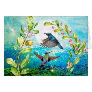Pájaros de la naturaleza de la acuarela de la tarjeta de felicitación