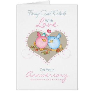 Pájaros de la tía y de tío Anniversary Card With Tarjetón