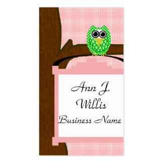 Pájaros de los búhos, empleos del negocio tarjetas de visita