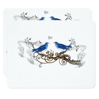 Pájaros del amor del vintage del azul real que invitación 10,8 x 13,9 cm