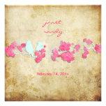 Pájaros del amor del vintage/flores coloridos invitación