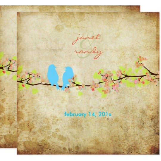 Pájaros del amor del vintage/flores coloridos invitación 13,3 cm x 13,3cm