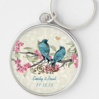 Pájaros del amor del vintage que casan el llavero