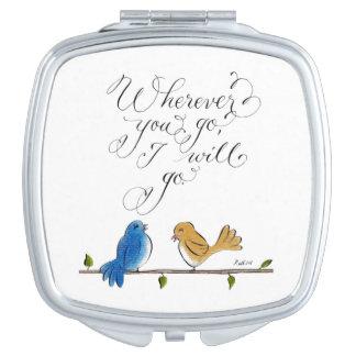 Pájaros del amor dondequiera que usted vaya espejo de maquillaje