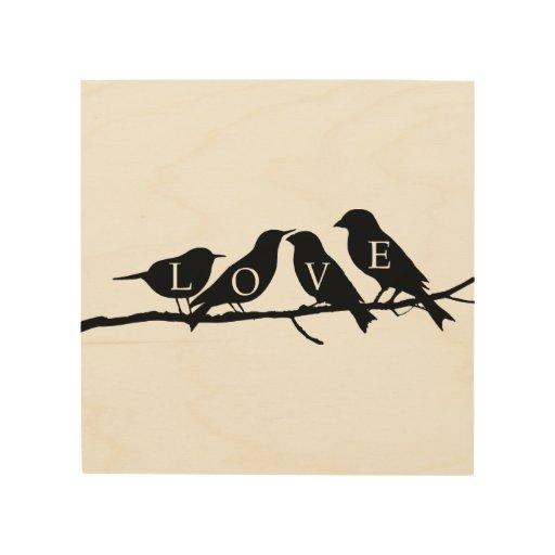 Pájaros del amor cuadro de madera