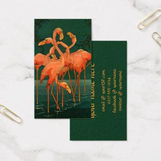 Pájaros del animal salvaje del vintage, flamencos tarjeta de visita
