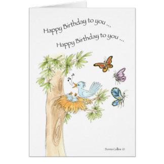 Pájaros del azul de la canción del feliz tarjeta de felicitación