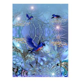 Pájaros del azul de la postal