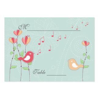 Pájaros del canto con las flores que casan el tarjetas de visita grandes