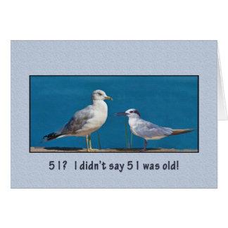 Pájaros del cumpleaños, el 51.o, del humor, de la tarjeta de felicitación