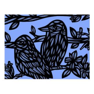 Pájaros del negro azul dos postal