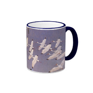 Pájaros del vintage, multitud de Ibis que vuela so Tazas De Café