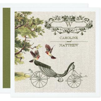Pájaros del vintage y invitaciones del boda del
