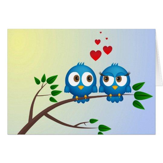 Pájaros en amor tarjeta de felicitación