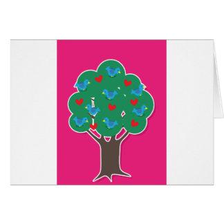 Pájaros en árbol tarjeta de felicitación