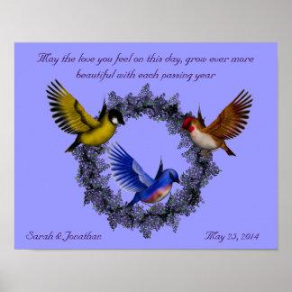 Pájaros en el regalo de boda de la guirnalda impresiones