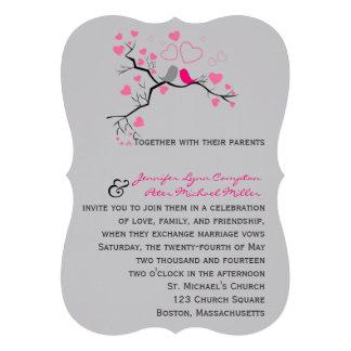 Pájaros en la invitación del boda del amor