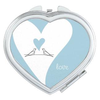 Pájaros en moderno rústico azul claro del amor espejos compactos