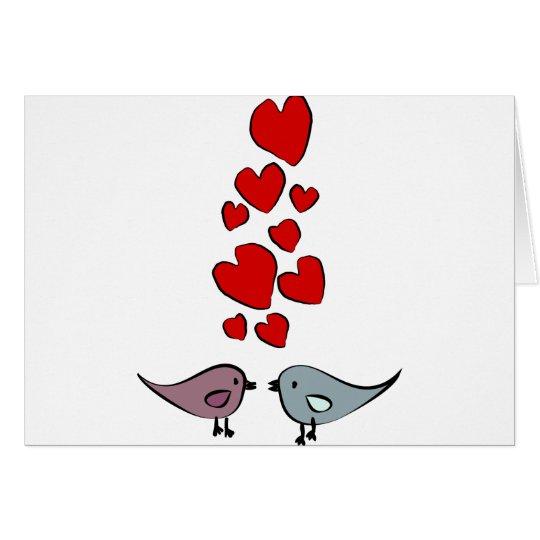 Pájaros en tema del amor tarjeta de felicitación