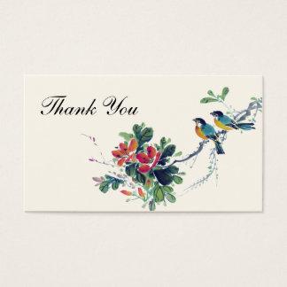 Pájaros florales del amor de la acuarela que casan tarjeta de negocios