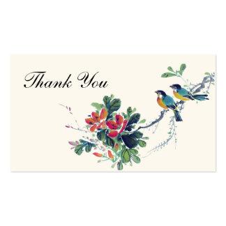 Pájaros florales del amor de la acuarela que casan tarjetas de visita