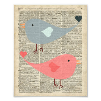Pájaros preciosos del dibujo animado en la página impresión fotográfica