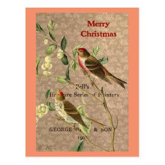 Pájaros rojos del vintage/Felices Navidad Postal