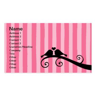 Pájaros rosados del amor de la raya tarjetas de visita