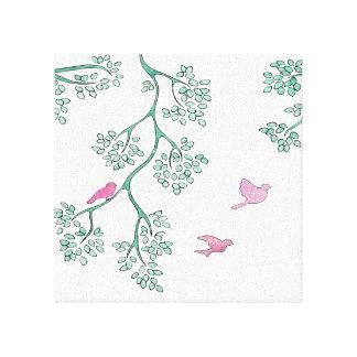 Pájaros rosados impresión en lienzo
