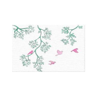 Pájaros rosados impresión en lona