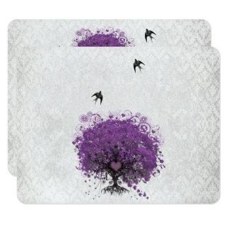 Pájaros RSVP del vintage del árbol de la berenjena Invitación 10,8 X 13,9 Cm