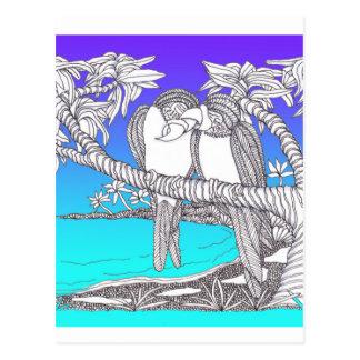 Pájaros tropicales del amor en azules del paraíso postal