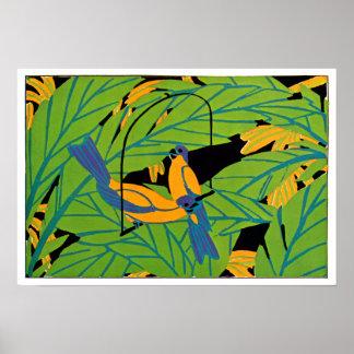 Pájaros tropicales del art déco de Seguy Póster