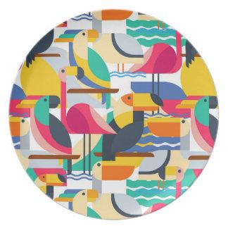 Pájaros tropicales geométricos platos para fiestas