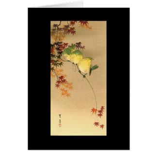 Pájaros verdes en el árbol de arce, arte japonés tarjeta