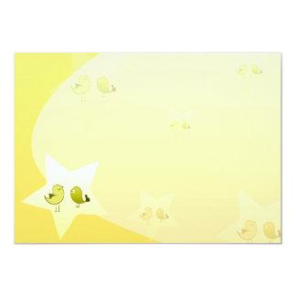 Pájaros verdosos hermosos del amor invitación 12,7 x 17,8 cm