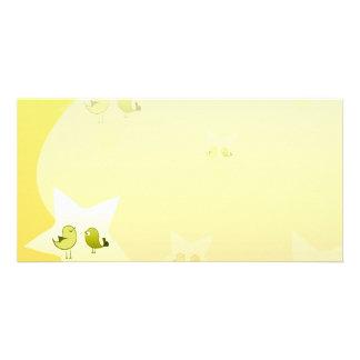Pájaros verdosos hermosos del amor tarjeta con foto personalizada