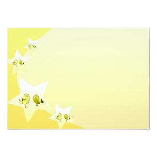 Pájaros verdosos lindos del amor invitación 12,7 x 17,8 cm