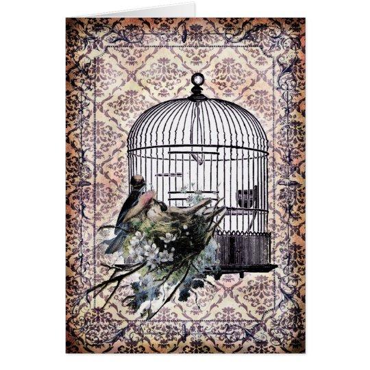 Pájaros y Birdcage del vintage Tarjeta De Felicitación