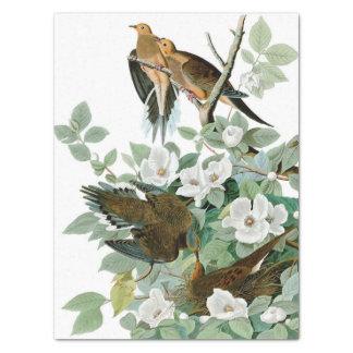 """Pájaros y flores 15"""" natural x 20"""" papel seda"""
