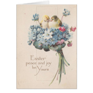 Pájaros y flores adorables de Pascua del vintage Tarjeta De Felicitación