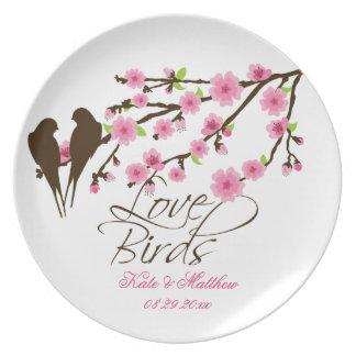Pájaros y flores de cerezo del amor personalizados platos de comidas