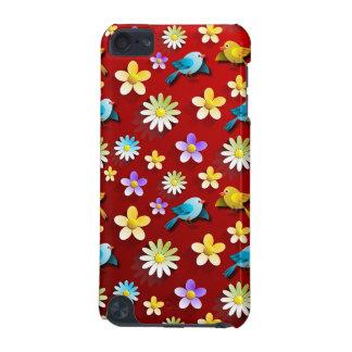 Pájaros y flores de la primavera roja carcasa para iPod touch 5G