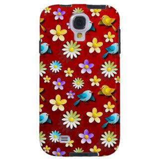 Pájaros y flores de la primavera roja funda galaxy s4