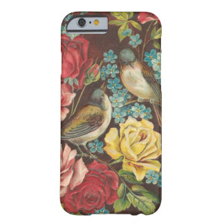 Pájaros y flores del vintage funda para iPhone 6 barely there