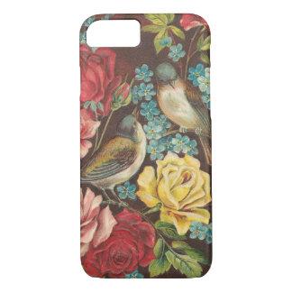 Pájaros y flores del vintage funda iPhone 7